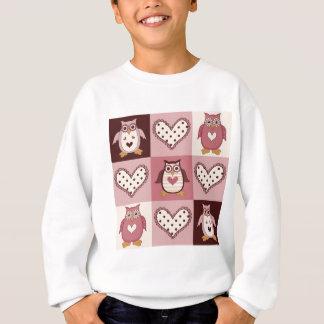 かわいいキルトはレトロのフクロウのバレンタインのティー、ギフトを平方します スウェットシャツ