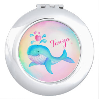 かわいいクジラの噴出のハートの芸術の名前の鏡のコンパクト