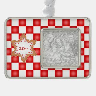 かわいいクッキーのデザインあなたの写真 シルバープレートフレームオーナメント