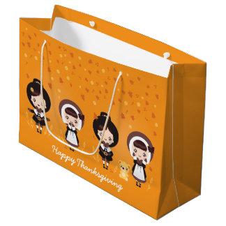 かわいいクララ-感謝祭 ラージペーパーバッグ