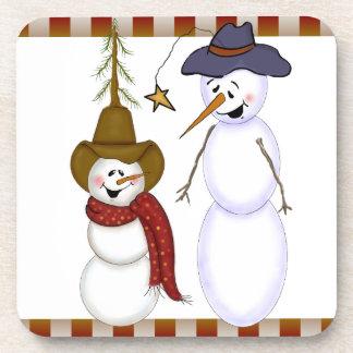 かわいいクリスマスのカウボーイの雪だるま コースター