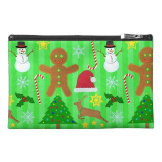 かわいいクリスマスのコラージュの休日パターン トラベルアクセサリーバッグ