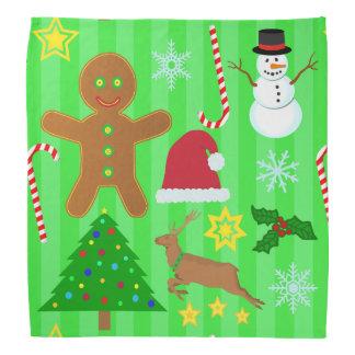 かわいいクリスマスのコラージュの休日パターン バンダナ