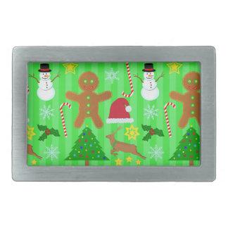かわいいクリスマスのコラージュの休日パターン 長方形ベルトバックル