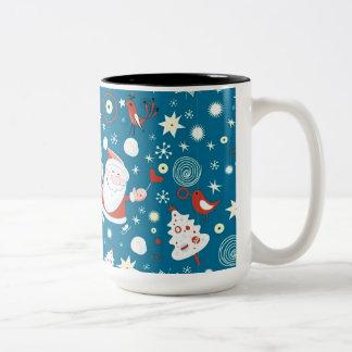 かわいいクリスマスのサンタパターンマグ ツートーンマグカップ
