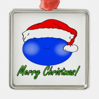 かわいいクリスマスのスマイリー シルバーカラー正方形オーナメント