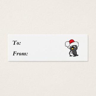 かわいいクリスマスのタキシードのペンギン スキニー名刺