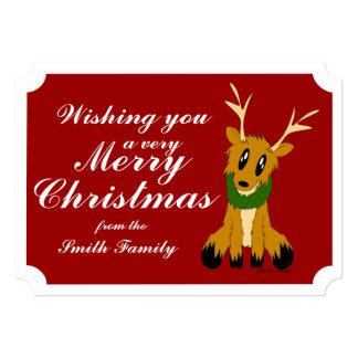 かわいいクリスマスのトナカイの写真のクリスマスカード 12.7 X 17.8 インビテーションカード