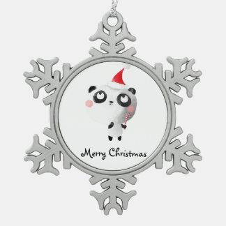 かわいいクリスマスのパンダくま スノーフレークピューターオーナメント