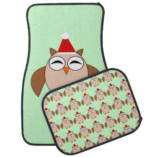 かわいいクリスマスのフクロウのカーマットセット カーマット