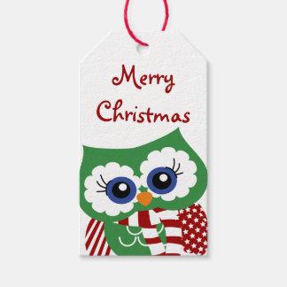 かわいいクリスマスのフクロウのクリスマスのプレゼントのラベル ギフトタグ