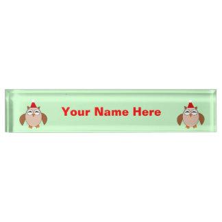 かわいいクリスマスのフクロウの習慣のネームプレート デスクネームプレート