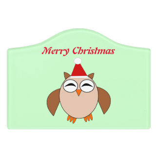 かわいいクリスマスのフクロウカスタムな部屋の印 ドアサイン