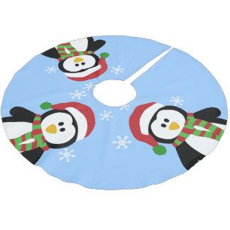 かわいいクリスマスのペンギンの木のスカート ブラッシュドポリエステルツリースカート
