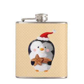 かわいいクリスマスのペンギン フラスク