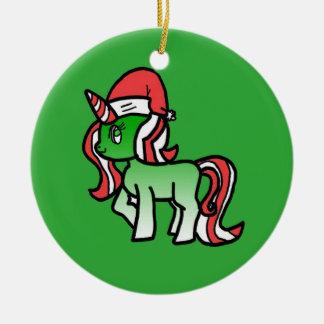 かわいいクリスマスのユニコーンのオーナメント-緑の背景 セラミックオーナメント