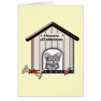 かわいいクリスマスのヨークシャーテリアの犬小屋 カード