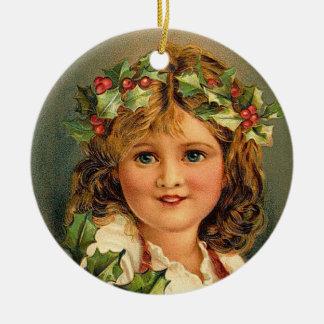 かわいいクリスマスの女の子のヴィンテージのオーナメント 陶器製丸型オーナメント