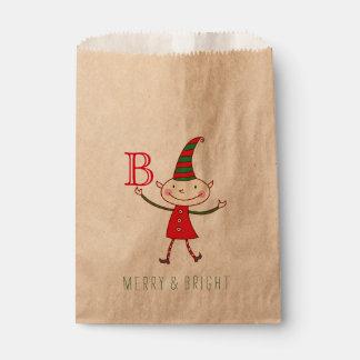 かわいいクリスマスの小妖精や小人のモノグラムのおもしろいの休日の好意のバッグ フェイバーバッグ