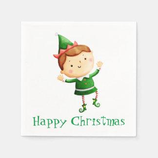 かわいいクリスマスの小妖精や小人 スタンダードカクテルナプキン