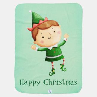 かわいいクリスマスの小妖精や小人 ベビー ブランケット