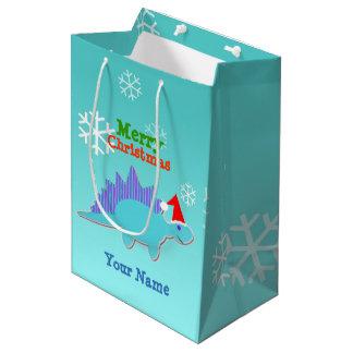 かわいいクリスマスの恐竜 ミディアムペーパーバッグ