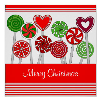 かわいいクリスマスの棒つきキャンデーポスター ポスター
