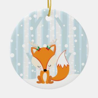 かわいいクリスマスの森林キツネ セラミックオーナメント