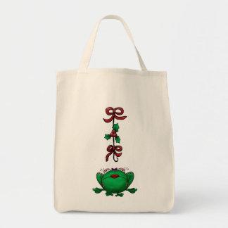 かわいいクリスマスの漫画のカエル トートバッグ
