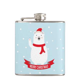 かわいいクリスマスの白くま フラスク