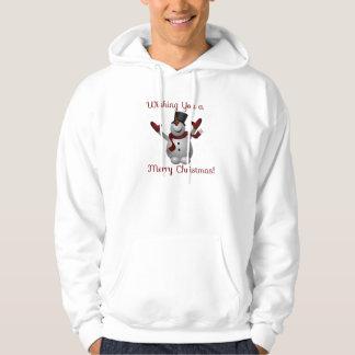 """かわいいクリスマスの雪だるまの""""メリークリスマス""""のフード付きスウェットシャツ パーカ"""