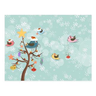 かわいいクリスマスの鳥の郵便はがき ポストカード