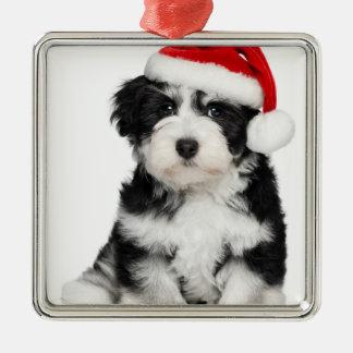 かわいいクリスマスのHavaneseの小犬2 メタルオーナメント