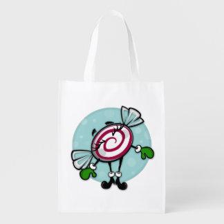 かわいいクリスマスキャンデーの再使用可能な休日の買い物袋 エコバッグ