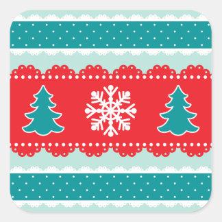 かわいいクリスマスツリーおよび雪片パターン スクエアシール