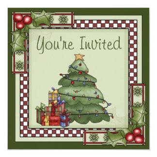 かわいいクリスマスツリーの休日のパーティの招待状 13.3 スクエアインビテーションカード