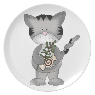 かわいいクリスマス子猫キャンデー+ヤドリギ プレート