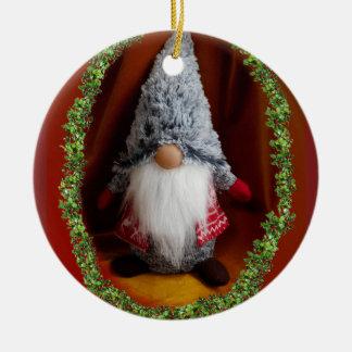 かわいいクリスマス 陶器製丸型オーナメント