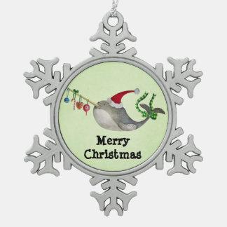 かわいいクリスマスNarwhal スノーフレークピューターオーナメント
