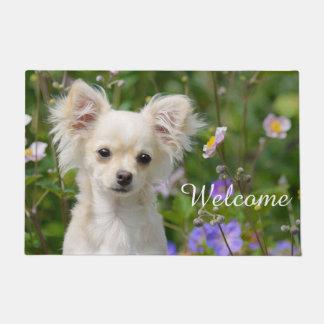 かわいいクリーム色のチワワ犬の子犬ペット写真/歓迎 ドアマット