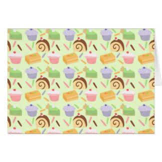 かわいいケーキパターン グリーティングカード