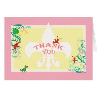 かわいいケージャンの生き物の女の赤ちゃんは感謝していしています カード
