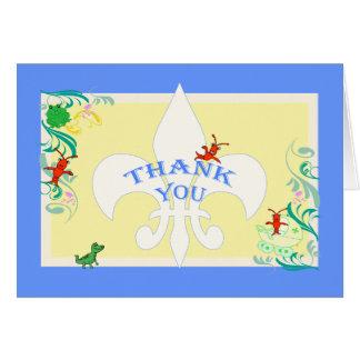 かわいいケージャンの生き物の男の赤ちゃんは感謝していしています カード