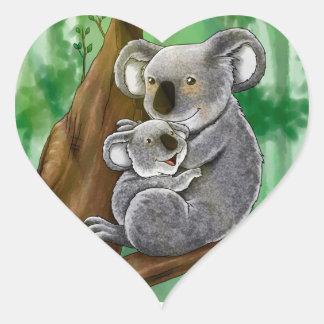 かわいいコアラおよびベビー ハートシール