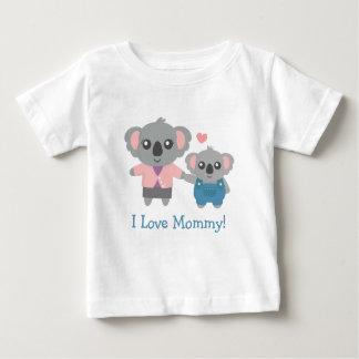 かわいいコアラのお母さんおよび子供 ベビーTシャツ