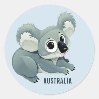 かわいいコアラのカスタムな文字のステッカー ラウンドシール