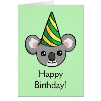 かわいいコアラのパーティーの帽子のスケッチのハッピーバースデーカード カード