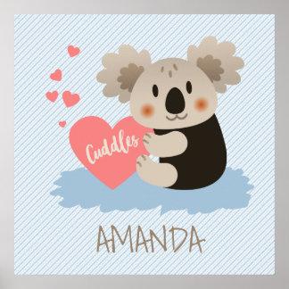かわいいコアラはID386を抱きしめます ポスター