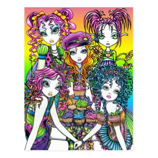 かわいいコップのケーキの虹の妖精のパーティーの郵便はがき ポストカード