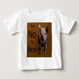 """かわいいコブタは""""拒否しますベーコン""""を ベビーTシャツ"""